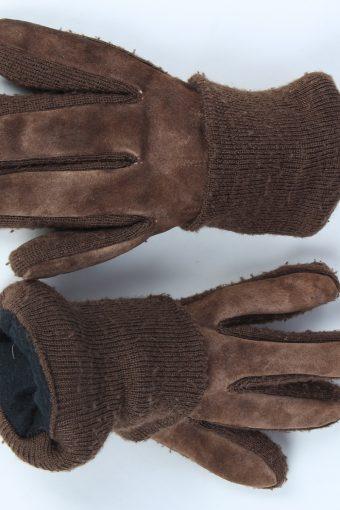 Suede Leather Gloves Vintage Mens Size XL Dark Brown -G542-156331