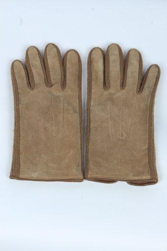 Suede Leather Gloves Vintage Mens Size M Brown
