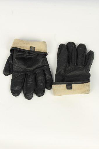 Leather Gloves Mens Vintage Size L Black -G546-156403
