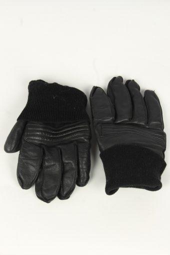 Motorbike Leather Gloves Mens Vintage Size L Black -G549-156415