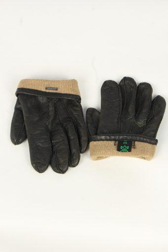 Leather Gloves Mens Vintage Size XL Black -G550-156419