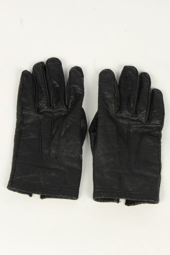 Leather Gloves Mens Vintage Size S Black