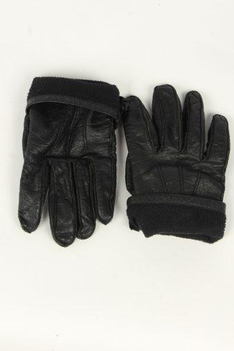 Leather Gloves Mens Vintage Size S Black -G553-156431