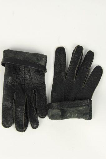 Leather Gloves Mens Vintage Size L Black -G554-156435