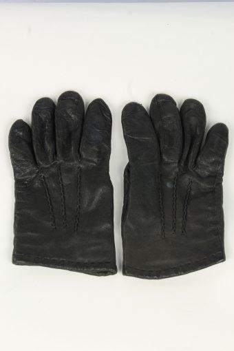 Leather Gloves Mens Vintage Size L Black