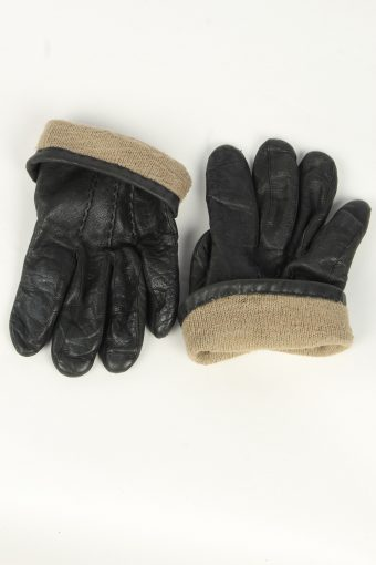 Leather Gloves Mens Vintage Size L Black -G555-156439