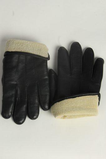 Leather Gloves Mens Vintage Size L Black -G561-156463