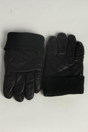 Motorbike Leather Gloves Mens Vintage Size L Black -G562-156467