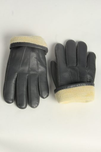 Leather Gloves Mens Vintage Size L Grey -G568-156491