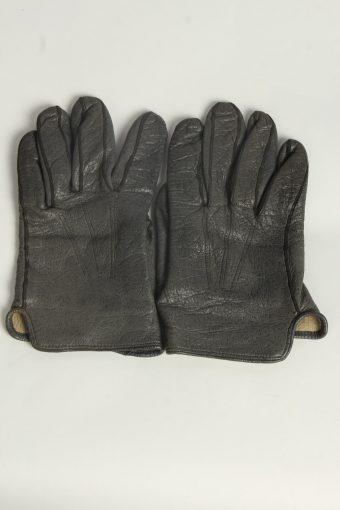 Leather Gloves Mens Vintage Size L Grey