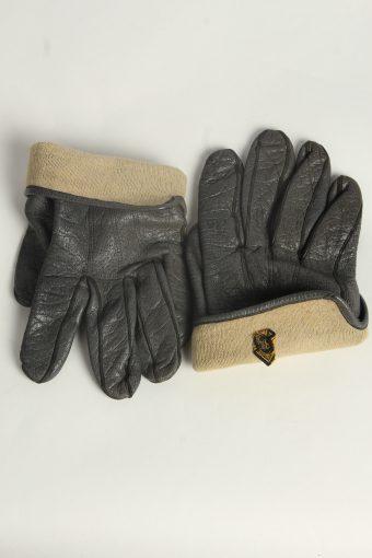 Leather Gloves Mens Vintage Size L Grey -G570-156499