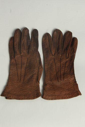 Leather Gloves Mens Vintage Size M Brown