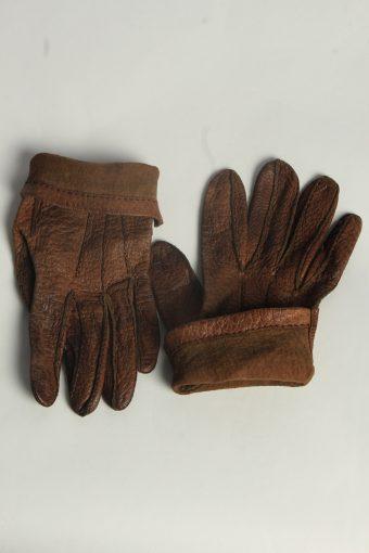 Leather Gloves Mens Vintage Size M Brown -G576-156523