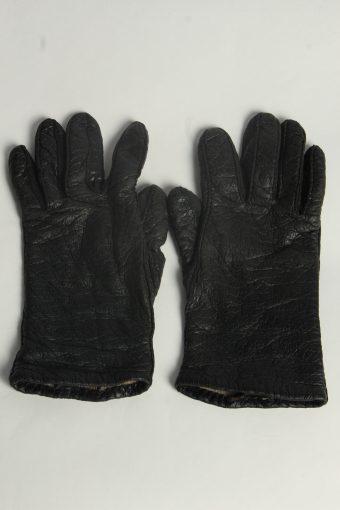 Leather Gloves Womens Vintage Size L Black