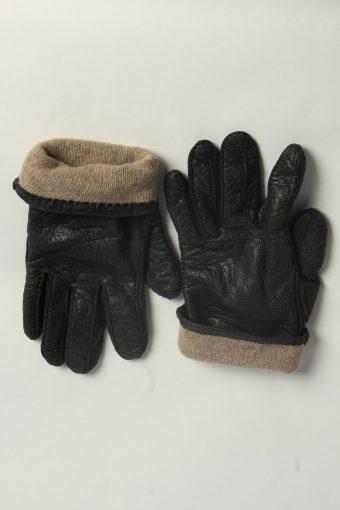 Leather Gloves Womens Vintage Size L Black -G584-156557