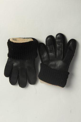 Leather Gloves Womens Vintage Size M Black -G587-156569