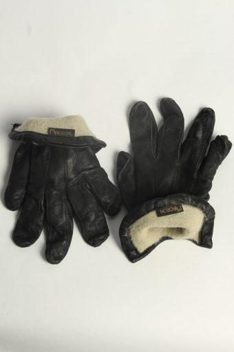 Leather Gloves Womens Vintage Size M Black -G588-156573