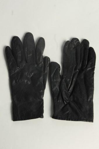 Leather Gloves Womens Vintage Size M Black