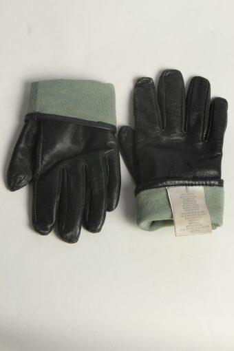 Leather Gloves Womens Vintage Size M Black -G591-156585