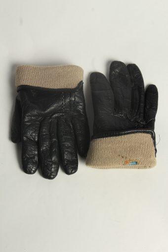 Leather Gloves Womens Vintage Size M Black -G592-156589