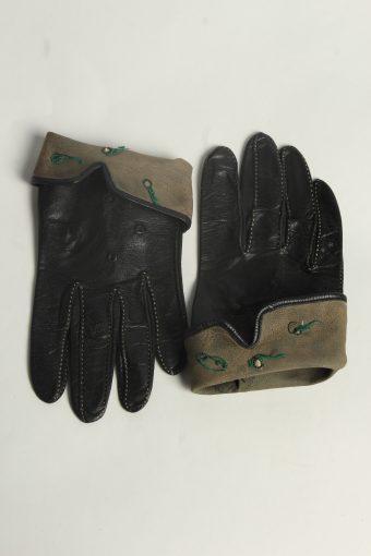 Leather Gloves Womens Vintage Size M Black -G593-156593