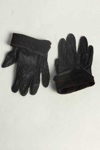 Leather Gloves Womens Vintage Size M Black -G595-156601