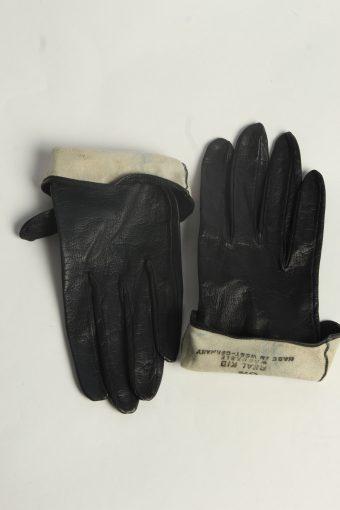 Leather Gloves Womens Vintage Size S Black -G596-156605
