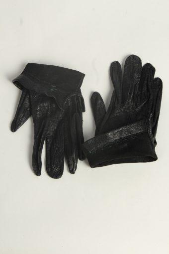 Leather Gloves Womens Vintage Size M Black -G597-156609