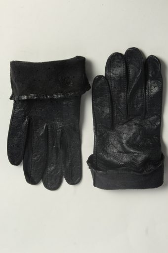 Leather Gloves Womens Vintage Size M Black -G599-156617