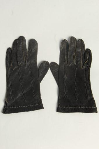 Leather Gloves Womens Vintage Size S Black