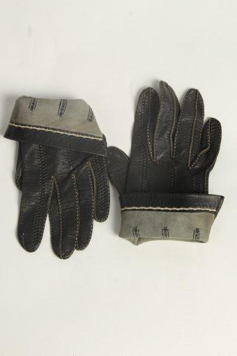 Leather Gloves Womens Vintage Size S Black -G601-156625