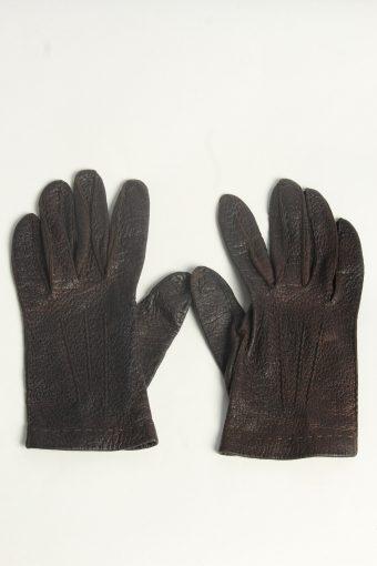 Leather Gloves Womens Vintage Size L Dark Brown