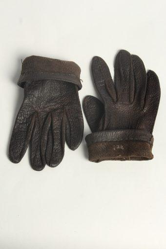 Leather Gloves Womens Vintage Size L Dark Brown -G602-156629