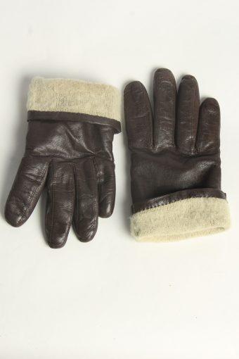 Leather Gloves Womens Vintage Size L Dark Brown -G603-156633