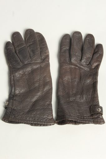 Leather Gloves Womens Vintage Size XL Brown
