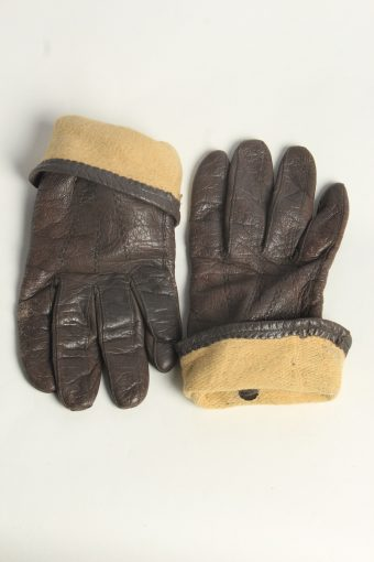 Leather Gloves Womens Vintage Size XL Brown -G604-156637