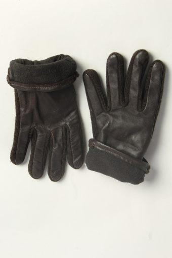 Leather Gloves Womens Vintage Size M Dark Brown -G605-156641