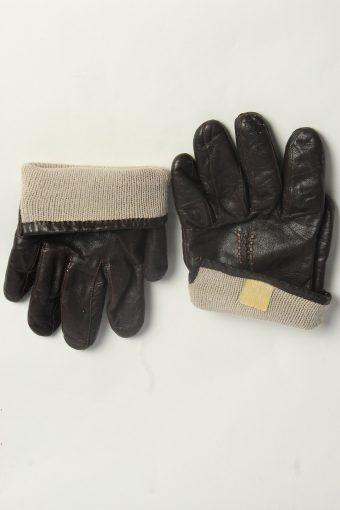 Leather Gloves Womens Vintage Size L Dark Brown -G606-156645