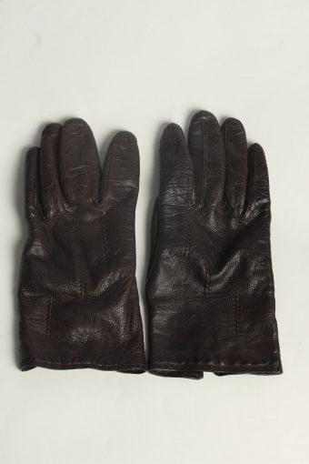 Leather Gloves Womens Vintage Size M Dark Brown