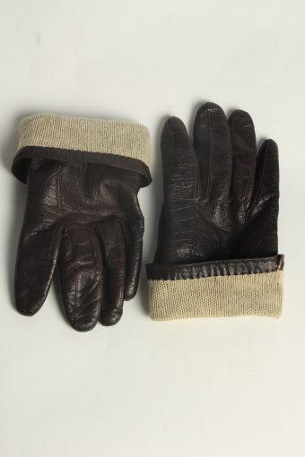 Leather Gloves Womens Vintage Size M Dark Brown -G607-156649