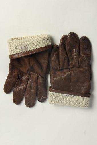 Leather Gloves Womens Vintage Size L Dark Brown -G610-156661