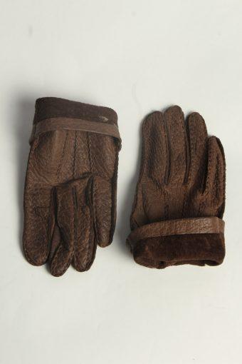 Leather Gloves Womens Vintage Size M Dark Brown -G611-156665
