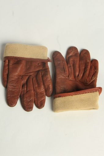 Leather Gloves Womens Vintage Size L Brown -G612-156669