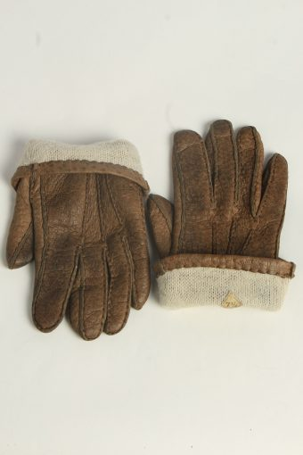 Leather Gloves Womens Vintage Size L Brown -G613-156673