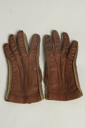 Leather Gloves Womens Vintage Size L Brown