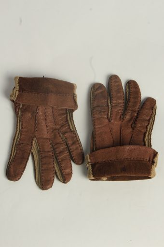 Leather Gloves Womens Vintage Size L Brown -G614-156677