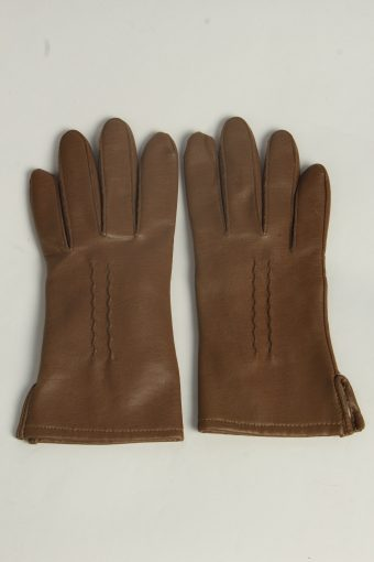 Leather Gloves Womens Vintage Size M Brown