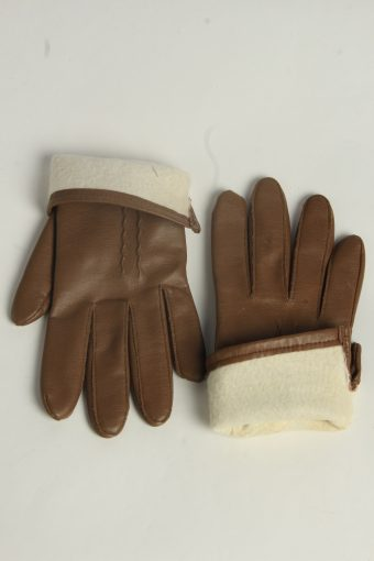 Leather Gloves Womens Vintage Size M Brown -G615-156681