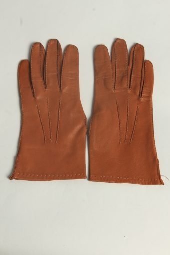 Leather Gloves Womens Vintage Size L Mustard