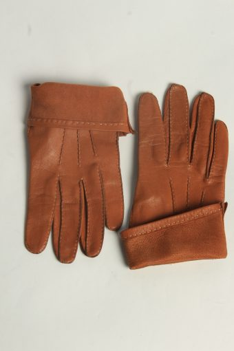 Leather Gloves Womens Vintage Size L Mustard -G616-156685